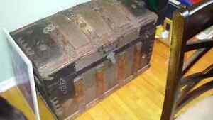 Authentic round top Victorian trunk for sale.
