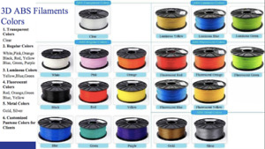 ABS 3D Printer Filament 1.75mm $16 1Kilogram Spool  ALL COLOURS