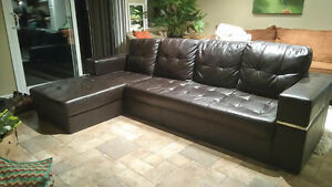 Stylish faux leather couch $40 OBO