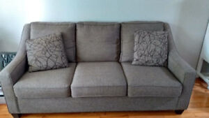 Like new couches, end table and decor