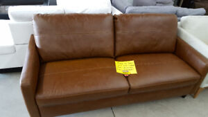 Brown 100% Real Leather Couch - Delivery Available