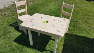 Kids table set with 2 chairs