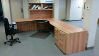 Large office desk, mint condition, includes chair, hutch, mat
