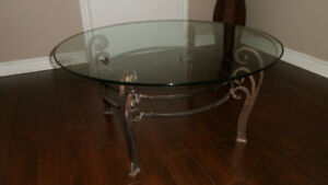 38 inch Decorative Beveled Edge Glass Table