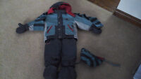 boys snow suit with hat and scarf attached boots and mitts