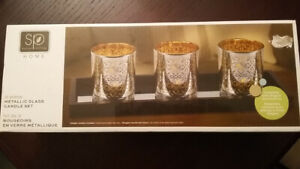 3 piece metallic candle set or glass candle holders