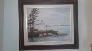 LAKE MUSKOKA LIGHT HOUSE. PAINTING 1990.