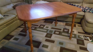"Solid Wood Dining Table w/ 6 Matching Chairs and 18"" Leaf"