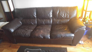 Free Brown Leather Sofa - Pickup Only