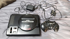 Sega Genesis Console + controllers & wires