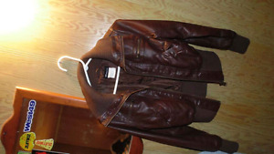 Brown leather jacket size small