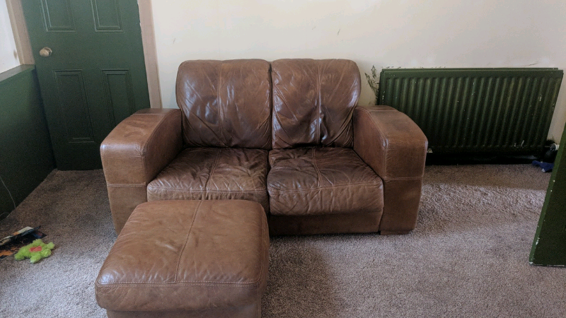 Rustic Brown Leather Small Sofa Reduced In Southside Glasgow Gumtree