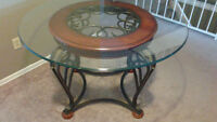 Elegant WOOD / GLASS / WROUGHT IRON Table and Chair Set