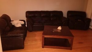 two piece black leather couches for sale
