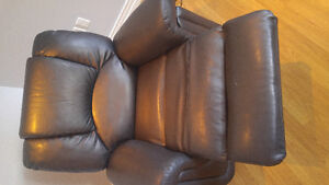 Black leather reclining sofa and chair