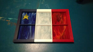Stained Glass Acadian Flag in a Wooden Window Frame