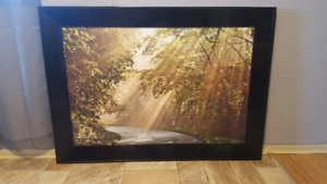 Brown framed forest picture