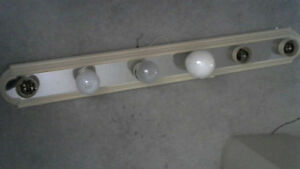 WASHROOM LAMP / BEIGE AND SILVER COLOR FOR 6 BULBS