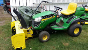 John Deere D140 with 48 inch mower and 44 inch snowblower!
