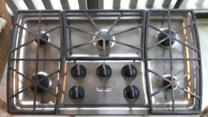 Stainless steel propane (or gas) cooktop and downdraft fan