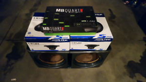 Brand new subs, amp, box. May sell separately.
