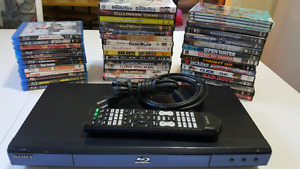 SONY BLUE RAY WITH REMOTE & 12 BLUE RAYS & 29 DVDS