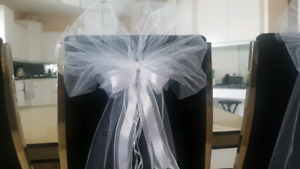 White Tulle Ceremony Pew Bows