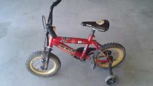 Boys firefighter bike with training wheels