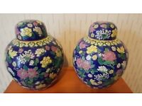 Pair Chinese/Oriental Polychrome Ginger Jars/Vase Ornament Multicoloured