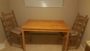 Wooden dining tables and chairs(two) with cushion