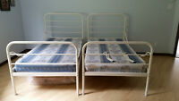 Twin metal bed frame and mattress