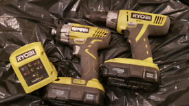 RYOBI ONE + 18V COMBI DRILL & IMPACT DRIVER + CHARGER + BATTERIES