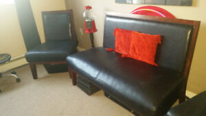 Pleather Bench Couch and 2 Chairs
