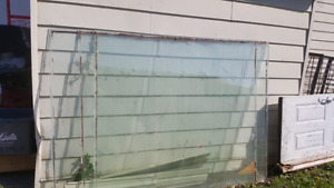 Large green house panes of glass