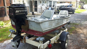 12ft Aluminum Boat, Mercury 9.9 Motor and Trailer