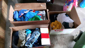 3 Boxes of boys clothes size 12-24 months