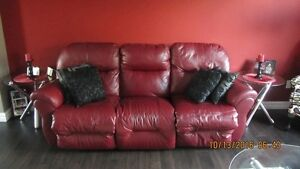 Burgandy Leather Reclining Sofa and Chair