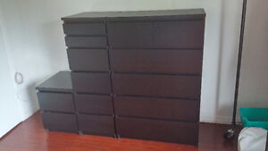 IKEA Malm Bedroom Set - Two 6-drawer dressers and a nightstand