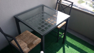 IKEA Wooden Chairs and Glass Tabletop Set