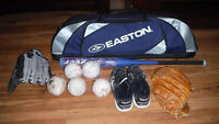 Softball Package - Bat, Easton Bag, 2 Gloves, Balls, Nike Cleats