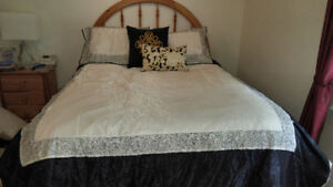Duvet Queen size skirt and cushions retail $300 to $400