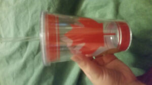 Plastic Canada Cup with straw and lid