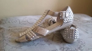 Sandals.  Muted Gold & Silver Like New