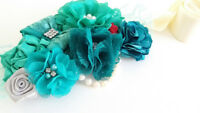 Gorgeous Handmade Teal Maternity Photo Session Sash Crystals