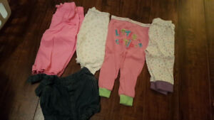 Size 3-6 months lot of pants, pj pants and shorts