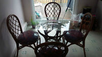 5 PIECE RATTAN/BAMBOO GLASS TOP DINING SET - LIKE NEW!