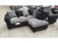 Brand new black/ grey jumbo chord corner sofa