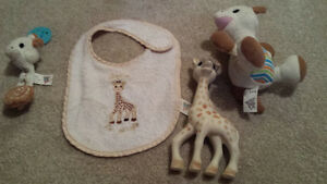 Sophie the Giraffe toy, bib, stuffed animal & soother clip