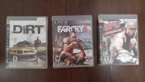 Playstation 3 (PS3) Games (Dirt, Farcry 3, UFC 2009 Undisputed)