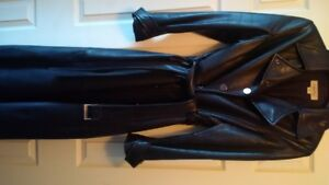 calvin klein full length leather trench coat